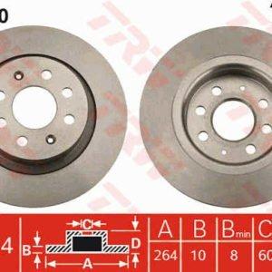 df4740 coppia dischi freno posteriori post trw grande punto abarth evo 264mm mondotuning mtelaborazioni pieni