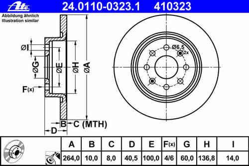 coppia dischi freno posteriori ate 264×10 post punto abarth evo grande mondotuning mtelaborazioni 24.0110-0323.1