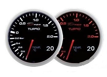 Manometro 2 in 1 - Turbo + Temp. Acqua/Olio - Depo Racing - 60mm