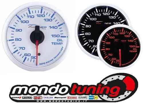 Manometro Temperatura Olio Analogico - Depo Racing - White/Black Line