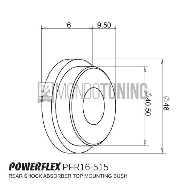 PFR16-515BLK supporti boccole powerflex bs black series tamponi ammortizzatori posteriori ammo 500 595 695 abarth fiat mondotuning mtelaborazioni