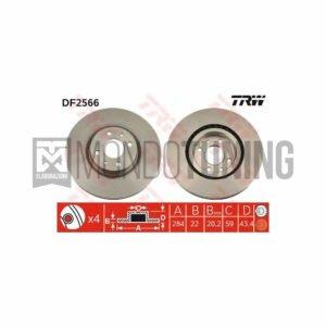 DF2566 dischi disco freno trw anteriori 500 595 695 abarth 284x22 autoventilati mondotuning mtelaborazioni trw
