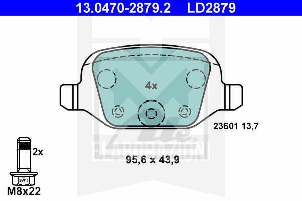 13.0470-2879.2 serie kit pastiglie freno post posteriori 500 595 695 abarth ate ceramic mondotuning mtelaborazioni