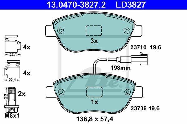 13.0470-3827.2 serie pastiglie freno anteriori ate ceramic 500 595 695 abarth mondotuning mtelaborazioni