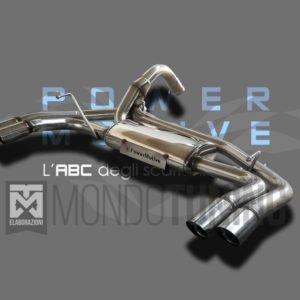 terminale finale posteriore scarico valvola wireless silenziato omologato powermotive 500 595 695 abarth artigianale acciaio inox mondotuning mtelaborazioni