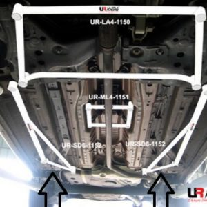 UR216872 coppia barre sotto telaio sottotelaio laterali inferiori ultra racing grande punto abarth evo mondotuning mtelaborazioni